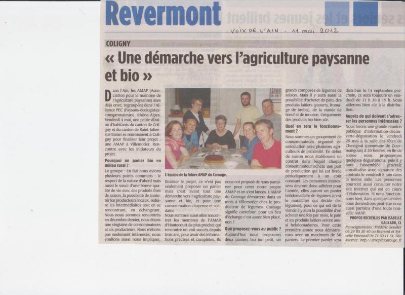 Article La Voix de l'Ain 11 mai 2012